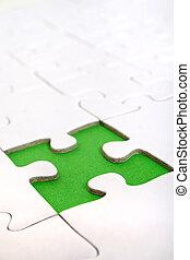Green Gap - A single green gap in a plain white puzzle game.