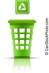 green garbage basket