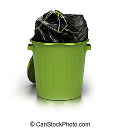 green garbage can over a white background with a plastic closed bag inside - studio shot plus 3d trash