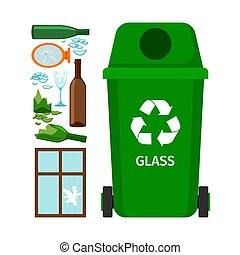 Green garbage can with glass