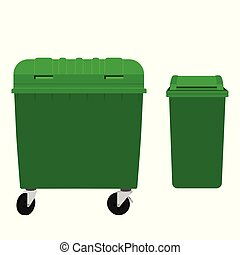 Green garbage container and recycling can  isolated on white background. Vector illustration.