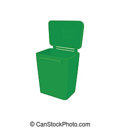 Green garbage container icon, cartoon style