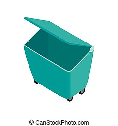 Green garbage container icon, isometric 3d style
