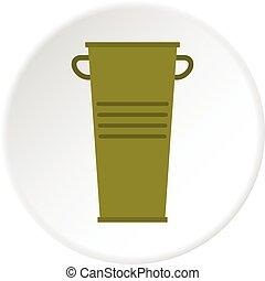 Green garbage tank with handles icon circle