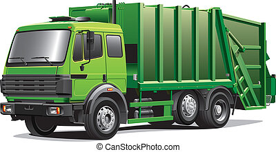 Detail vector image of modern garbage truck, isolated on white background. File contains gradients. No blends and strokes. Easily edit: file is divided into logical layers and groups.