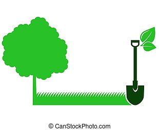 green garden background with tree and shovel