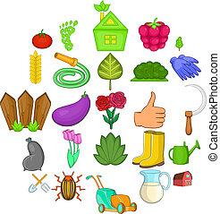 Green garden icons set, cartoon style