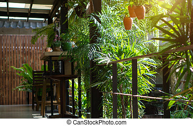 Green garden seating area in the house decoration