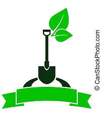 garden sign with shovel