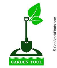 garden tool sign - green garden tool sign with shovel