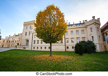 Green gardens in Lednice castle Chateau yard in Moravia, ...