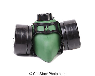 Green gas mask.