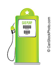 gas pump - green gas pump isolated over white background. ...