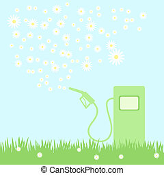 green gas pump with camomiles - green gas pump on a green...