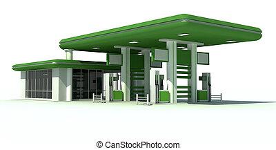 gas station 3d render - Green gas station 3d render