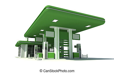 gas station 3d  - Green gas station 3d render