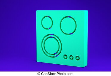 Green Gas stove icon isolated on blue background. Cooktop sign. Hob with four circle burners. Minimalism concept. 3d illustration 3D render