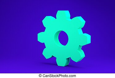 Green Gear icon isolated on blue background. Cogwheel gear settings sign. Cog symbol. Minimalism concept. 3d illustration 3D render