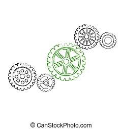 Green gear with black gears