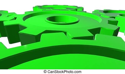 Green gears in horizontal position. White background. Alpha channel. Close up