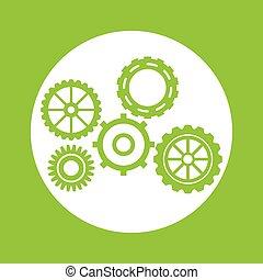 Green gears object design