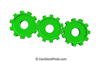 Green gears. White background. Alpha channel