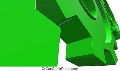 Green gearwheel rotate. White background. Alpha channel....