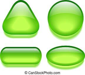 Green gel web buttons set
