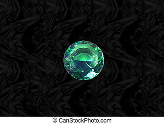 Green gem on black velvet