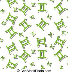 Green Gemini astronomy icon sign symbol pattern on white background
