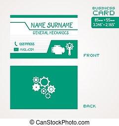 green general mechains visit card - Creative design of green...