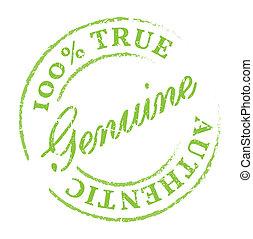 Green Genuine stamp. Genuine product symbol, disstressed...