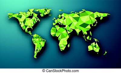 Green geometric abstract world map.