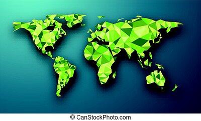 Green geometric abstract world map.