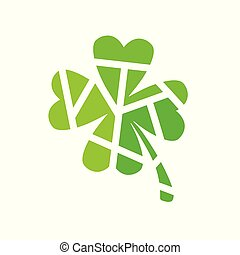 green geometric clover icon- vector illustration