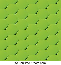 Green geometric hexagon background seamless pattern with shadow