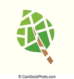 green geometric leaf icon- vector illustration