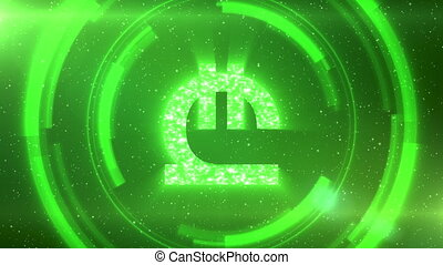 Green Georgian lari currency symbol on space background with circles. Seamless loop.