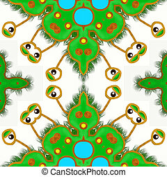 Green Germ Abstract Repeating Pattern.