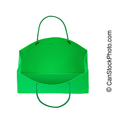Green gift bag falls through the air on an isolated white background