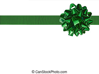 Green Gift bow - Green Gift wrapping bow and ribbon isolated...