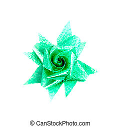 green gift bow isolated on white background