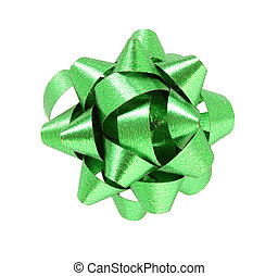 green gift bow isolated on white background with clipping path