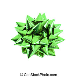 Green Gift Bow Isolated on White