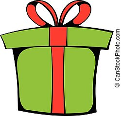 Green gift box icon cartoon