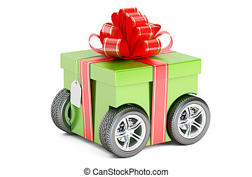 green gift box on wheels, gift delivery concept. 3D rendering