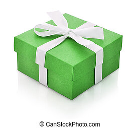 Green gift box with white ribbon isolated on white...