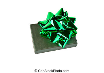 Green gift box with bow isolated on