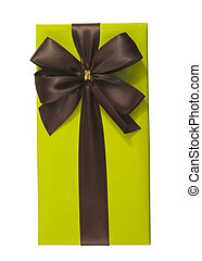 green gift box with brown bow
