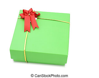Green gift box with red ribbon bow isolated on white background